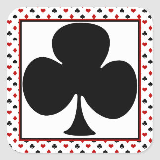 Poker Theme | Playing Card Theme | Black Club Square Sticker