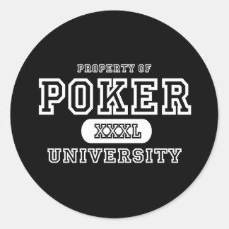 Poker University Dark Round Sticker