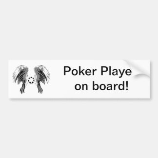 Poker wings black white gray with chip! car bumper sticker