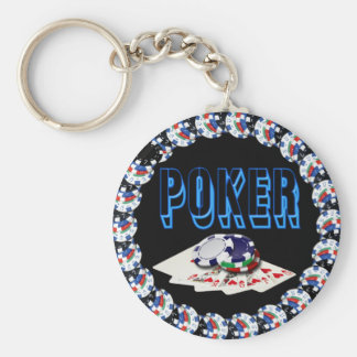 POKER WITH CARDS AND CHIPS BASIC ROUND BUTTON KEY RING