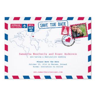 Poland Air Mail Wedding Save The Date Card