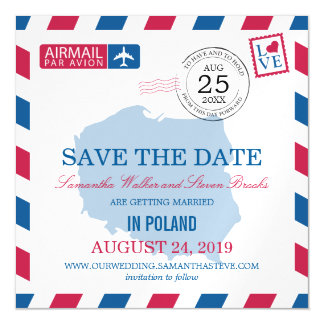 POLAND Airmail Save the Date Magnetic Invitations