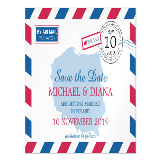 Poland Airmail | Save the Date Magnetic Invitations