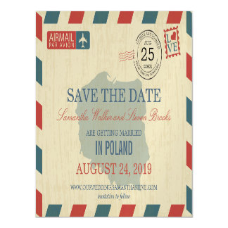 POLAND Antique Airmail Save the Date Magnetic Invitations