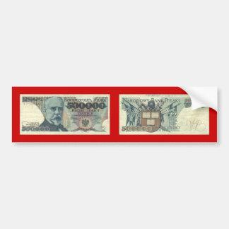 Poland Banknote 500,000 zloty Bumper Sticker