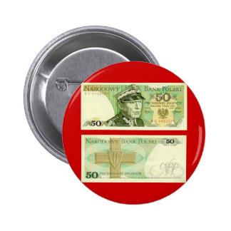 Poland Banknote 50 zloty 6 Cm Round Badge