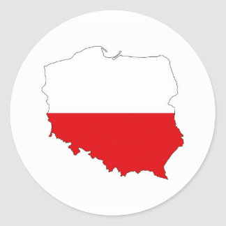 poland country flag map shape symbol classic round sticker