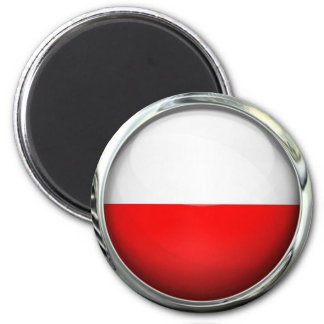 Poland Flag Glass Ball 6 Cm Round Magnet