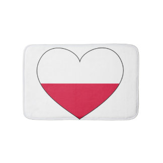 Poland Flag Heart Bath Mat