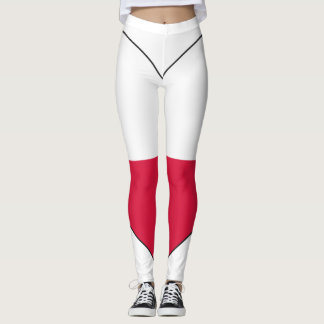 Poland Flag Heart Leggings