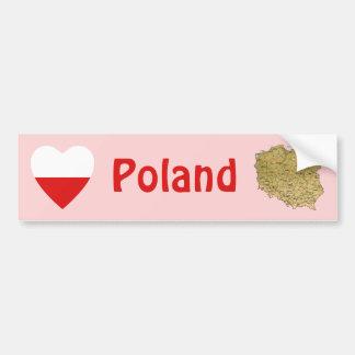 Poland Flag Heart + Map Bumper Sticker Car Bumper Sticker