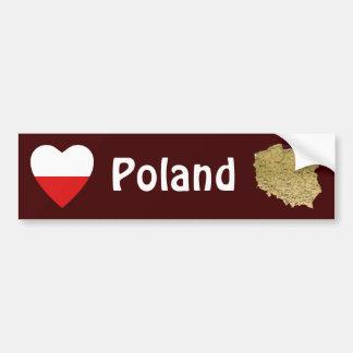 Poland Flag Heart + Map Bumper Sticker