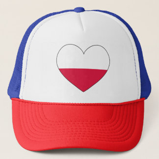 Poland Flag Heart Trucker Hat