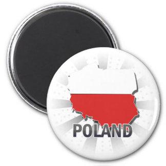 Poland Flag Map 2.0 6 Cm Round Magnet