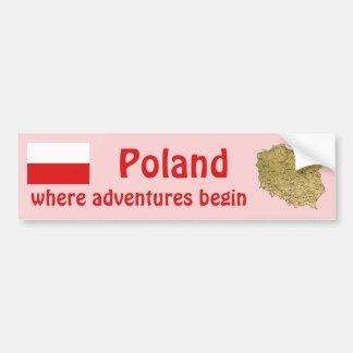 Poland Flag + Map Bumper Sticker Car Bumper Sticker