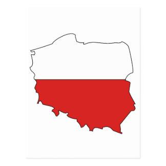 Poland flag map post card
