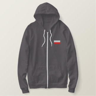 Poland flag men's embroidered zip up jacket