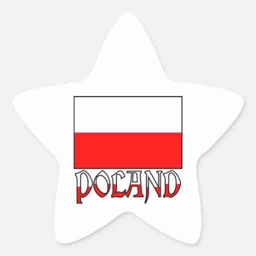 Poland Flag & Name Star Stickers