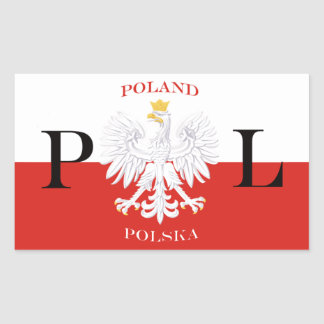 Poland Flag of Polska White Eagle Rectangular Sticker