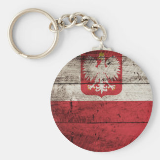 Poland Flag on Old Wood Grain Basic Round Button Key Ring