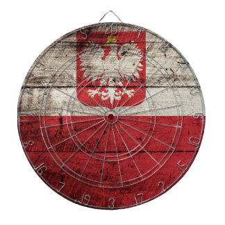 Poland Flag on Old Wood Grain Dartboard
