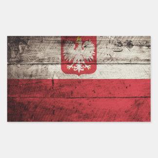 Poland Flag on Old Wood Grain Rectangular Sticker