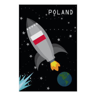 Poland Flag Rocket Ship Poster