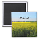 Poland Flowers Square Magnet
