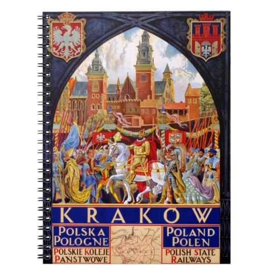 Poland Krakow Vintage Travel Poster Restored Notebook