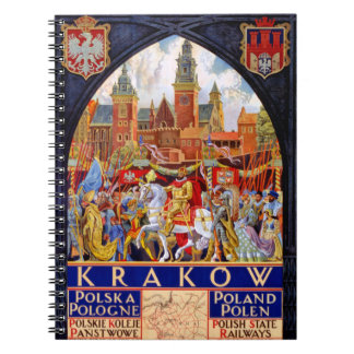 Poland Krakow Vintage Travel Poster Restored Notebooks
