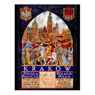 Poland Krakow Vintage Travel Poster Restored Postcard