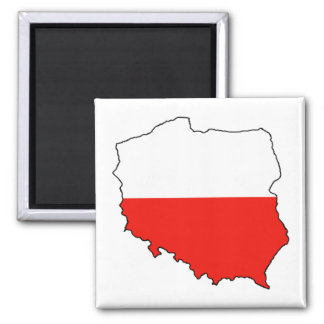 Poland Map-Flag Square Magnet
