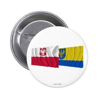 Poland & Opolskie waving flags 6 Cm Round Badge