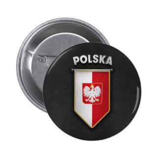 Poland Pennant with high quality leather look 6 Cm Round Badge
