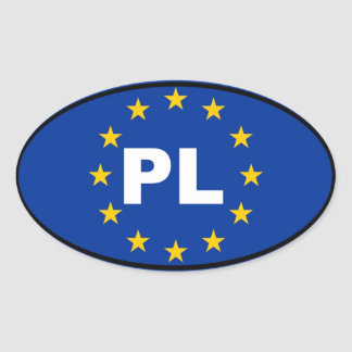 Poland PL European Union Oval Sticker