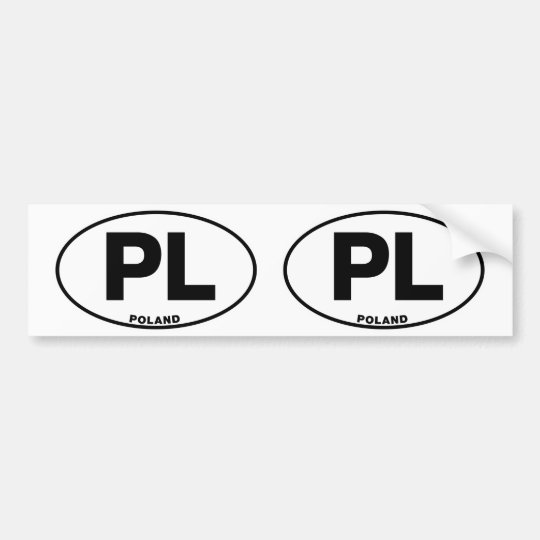Poland PL Oval ID Identification Code Initials Bumper Sticker