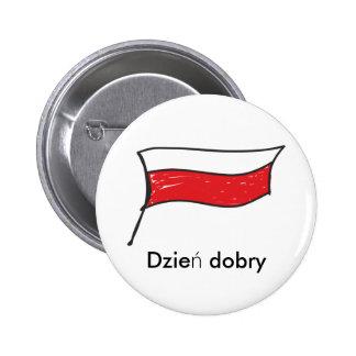 Poland | Polish Flag Dzien dobry 6 Cm Round Badge