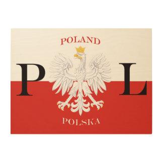 Poland Polska Flag Wood Print