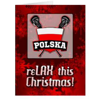 Poland Polska Lacrosse Shield Christmas Card