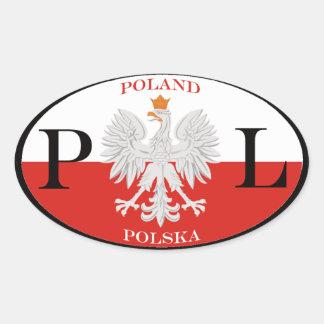 Poland Polska PL Oval Sticker