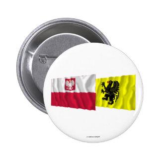 Poland & Pomorskie waving flags 6 Cm Round Badge