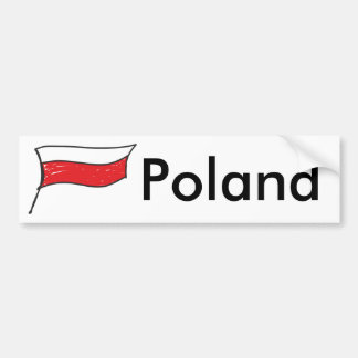 Poland | red and white Polish Flag Bumper Sticker