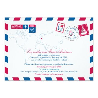 POLAND Red Blue Airmail Post Wedding Card