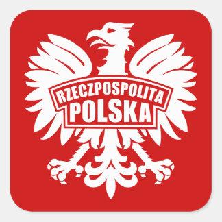 "Poland ""Rzeczpospolita Polska"" Eagle Symbol Square Sticker"