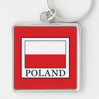 Poland Silver-Colored Square Key Ring
