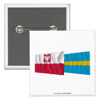Poland & Śląskie waving flags 15 Cm Square Badge