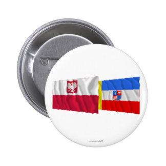 Poland & Świętokrzyskie waving flags 6 Cm Round Badge