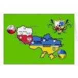 Poland Ukraine 2012 flag map football European Cup Greeting Card