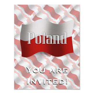 Poland Waving Flag 11 Cm X 14 Cm Invitation Card