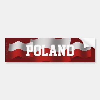 Poland Waving Flag Bumper Sticker